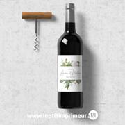 Etiquette pour bouteille de vin personnalisée Fleuri