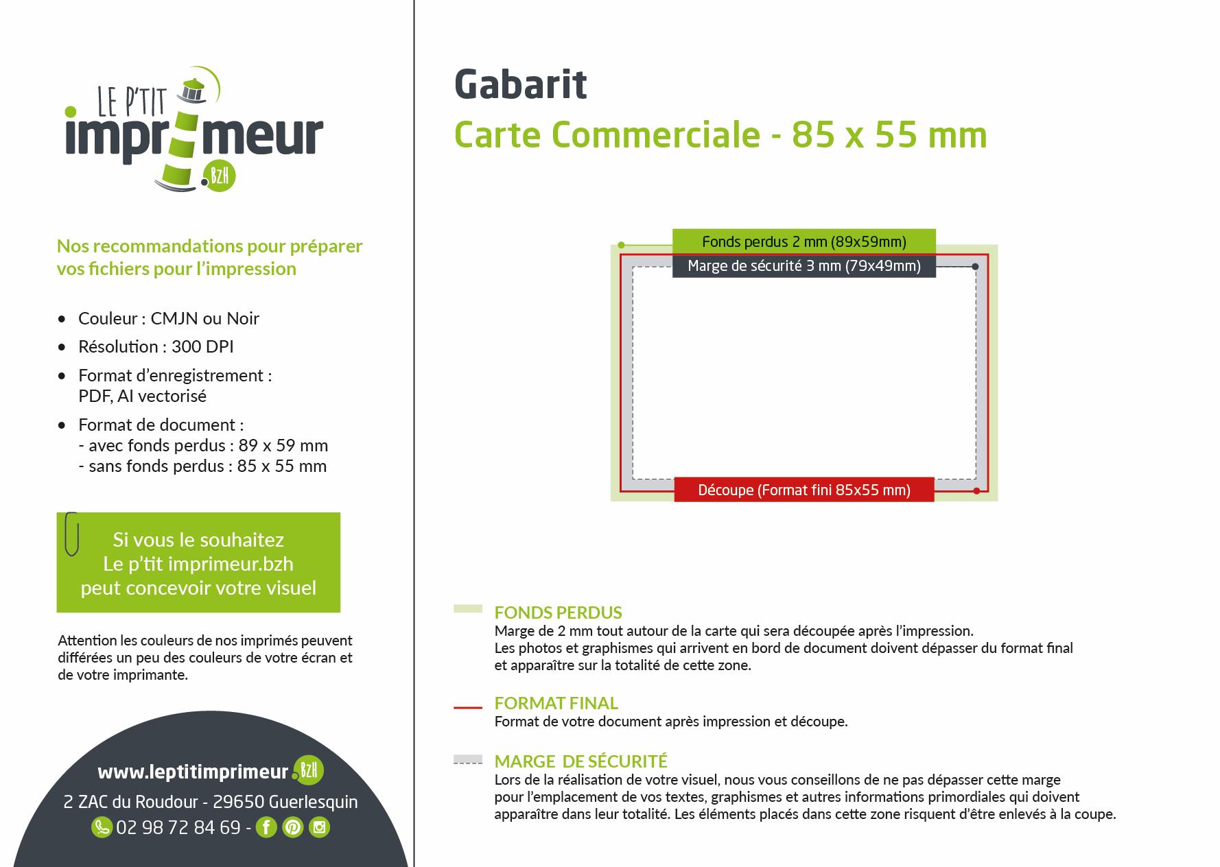 Gabarit carte commerciale 85 x 55 mm