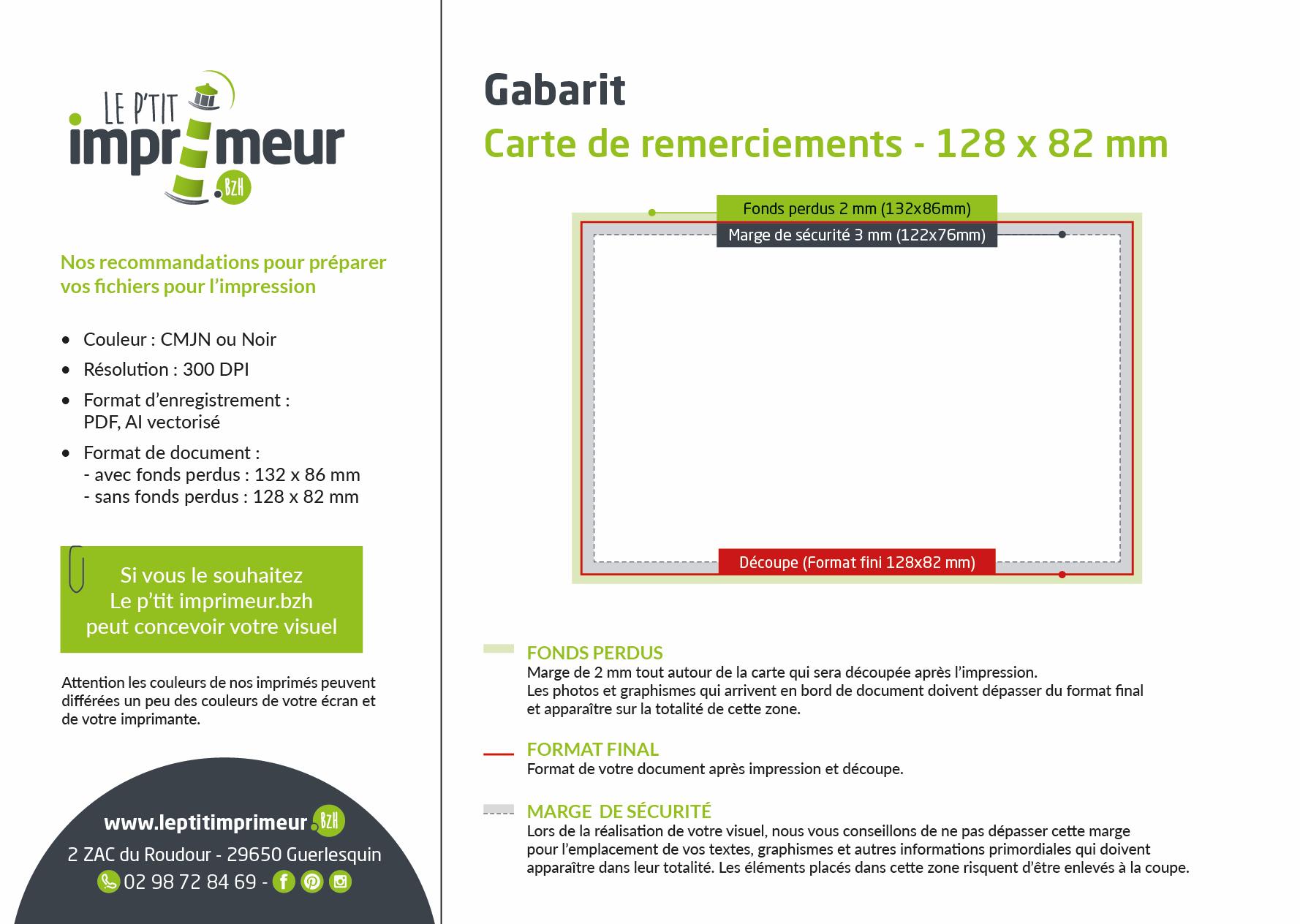 Carte de remerciement 128 x 82 mm _ Gabarit
