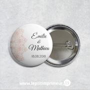 Badge Mariage - Blanc & Rose Romantique