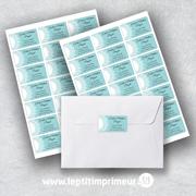 Étiquette expéditeur autocollante mariage - Bleu romantique | Le p'tit imprimeur.bzh