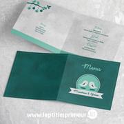 Menu mariage oiseaux - Vert