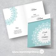 Menu mariage - Bleu Romantique | Le p'tit imprimeur.bzh