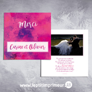 Carte de remerciement mariage - Flashy
