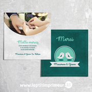 Carte de remerciement mariage oiseaux - Vert