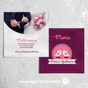 Carte de remerciement mariage oiseaux - Violet
