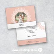 Carte de remerciement Mariage - Rose Romantique