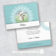 Carte de remerciement mariage - Bleu romantique | Le p'tit imprimeur.bzh