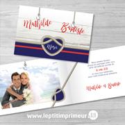 Carte de remerciement mariage - Noeud marin