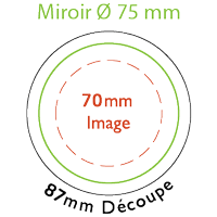 Gabarit miroir 75 mm  de diamètre