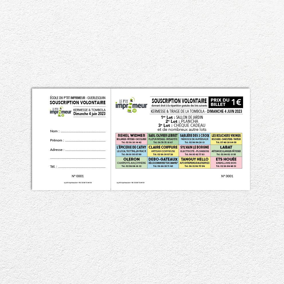 Carnets De Billets Tombola En Couleurs Format 21 X 95 Cm