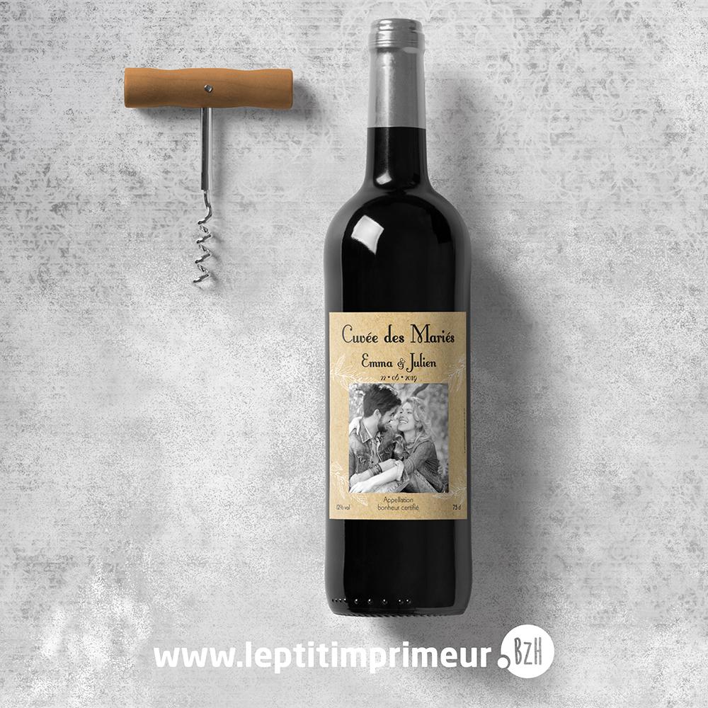 Étiquette personnalisable pour bouteille de vin