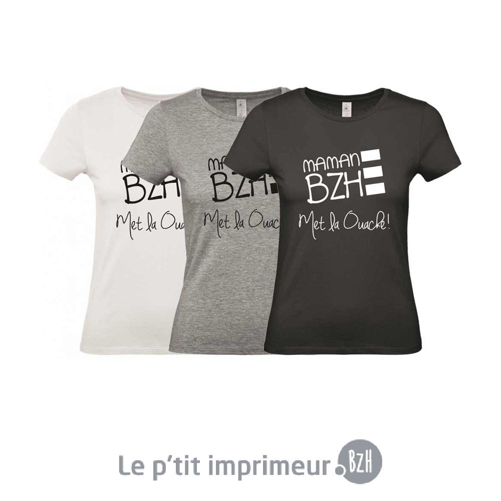 ab7506ab793d Tee-shirt Femme - Maman BZH - Col rond - Manches courtes - XS au XXL ...